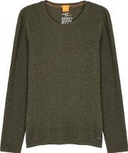Army Green Waffle Knit Cotton Top