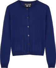 Navy Knitted Wool Cardigan