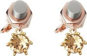 Crystal Charm Rose Gold Plated Nut And Bolt Earrings