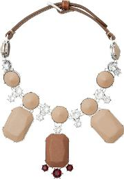 Glass Crystal And Leather Drop Necklace