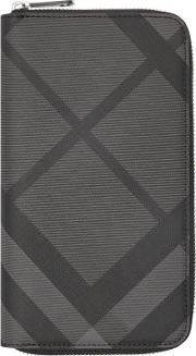 London Check And Leather Ziparound Wallet