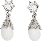 Palladium Plated Faux Pearl Charm Earrings