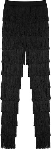 Black Fringed Mesh Trousers