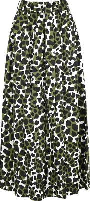 Dinizia Printed Wide Leg Satin Trousers