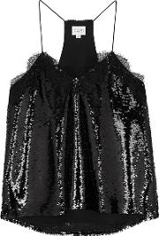 The Racer Black Sequinned Top