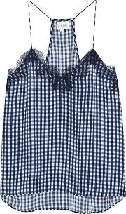 The Racer Gingham Silk Georgette Top