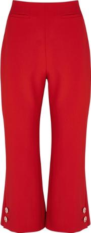 Red Cropped Flare Trousers