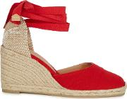Castaner Carina 90 Red Canvas Espadrille Pumps