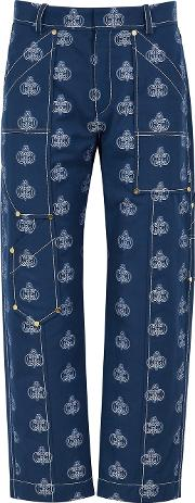 Chloe Navy Monogrammed Cotton Trousers