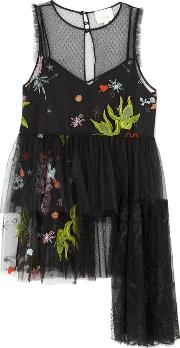 Cinq A Sept Inky Julieanne Embroidered Tulle Top