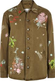 Cinq A Sept Whimsical Embroidered Cotton Jacket