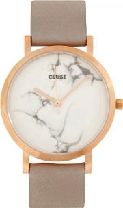 La Roche Petite Rose Gold Tone And Marble Watch