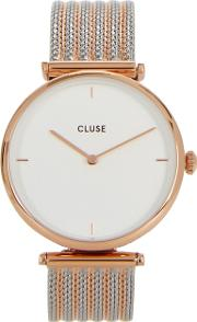 Triomphe Silver And Rose Gold Tone Watch