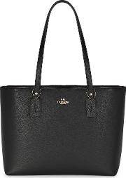 Central Black Grained Leather Tote