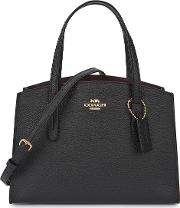 Charlie Carryall 28 Black Leather Top Handle Bag