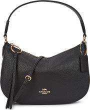 Sutton Black Leather Top Handle Bag
