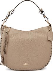 Sutton Taupe Leather Hobo Bag