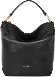 Liya Black Grained Leather Hobo Bag