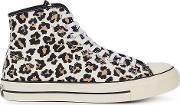 Lucky Star Leopard Print Hi Top Sneakers