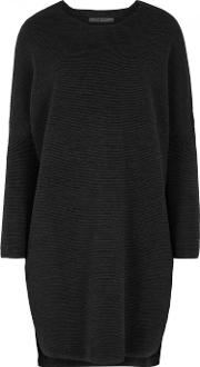 Anthracite Ribbed Wool Blend Dress Size 10