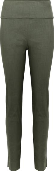 Army Green Linen Blend Trousers