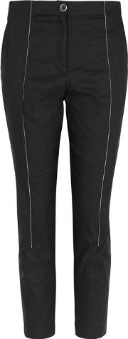 Black Cropped Linen Blend Trousers