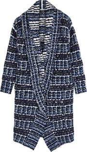 Blue Checked Boucle Knit Cardigan