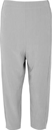 Grey Cropped Modal Blend Trousers