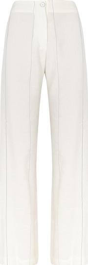 Ivory Striped Wide Leg Trousers