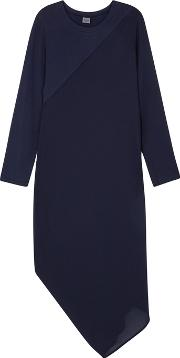 Navy Crepe And Jersey Dress