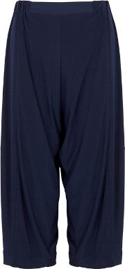Navy Cropped Stretch Jersey Trousers