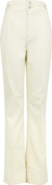 Ivory Cotton Twill Jeans