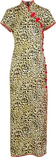 Suki Leopard Print Satin Midi Dress
