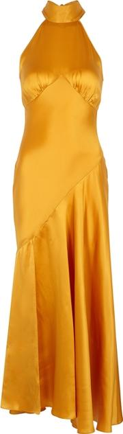 Vivienne Saffron Halterneck Silk Dress