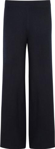 Navy Wide Leg Wool Blend Trousers