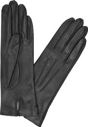 Black Silk Lined Leather Gloves