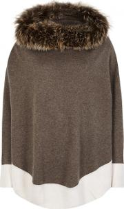 Brown Fur Trimmed Cashmere Poncho