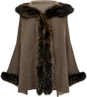 Brown Fur Trimmed Wool Blend Cardigan