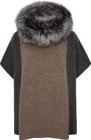 Fur Trimmed Wool Blend Jumper