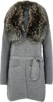 Grey Fur Trimmed Wool Blend Cardigan