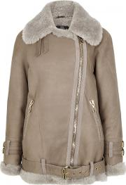 Taupe Shearling Suede Jacket