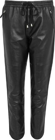 Ginger Black Leather Jogging Trousers