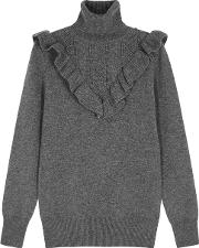 Grey Ruffle Trimmed Cashmere Jumper