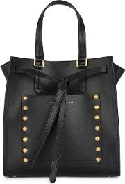 Del Black Studded Leather Tote