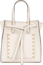 Del Ivory Studded Leather Tote