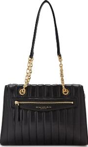 Erin Quilted Black Leather Tote