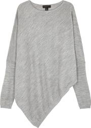 Grey Asymmetric Stretch Knit Jumper