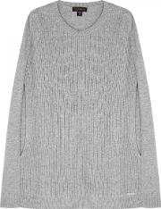 Grey Panelled Knitted Cape Size Xss