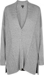 Grey Panelled Knitted Cardigan Size Xss