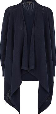 Navy Panelled Stretch Knit Cardigan